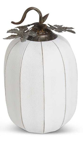 White Leather Pumpkin Oval Small