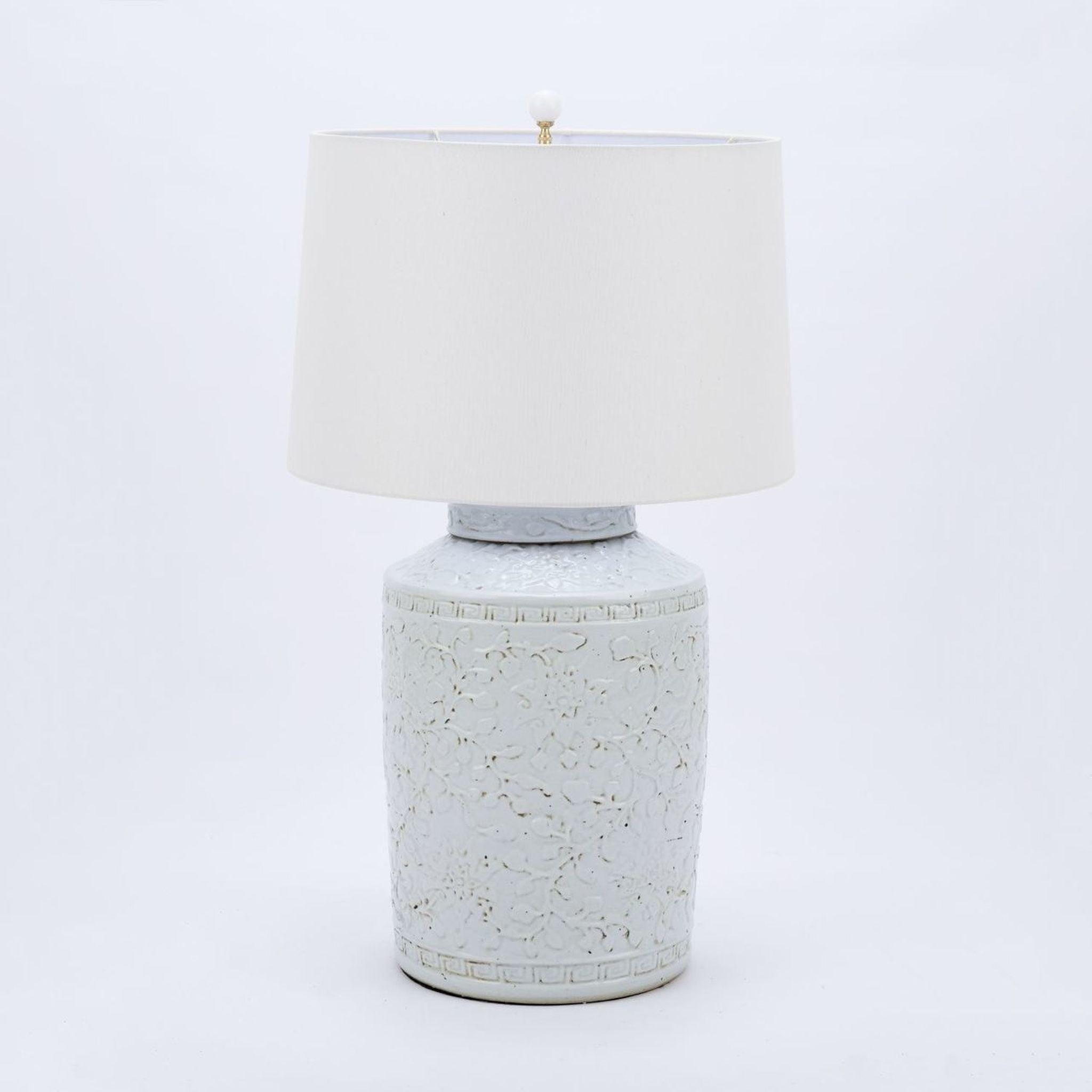 Rustic White Carved Lamp