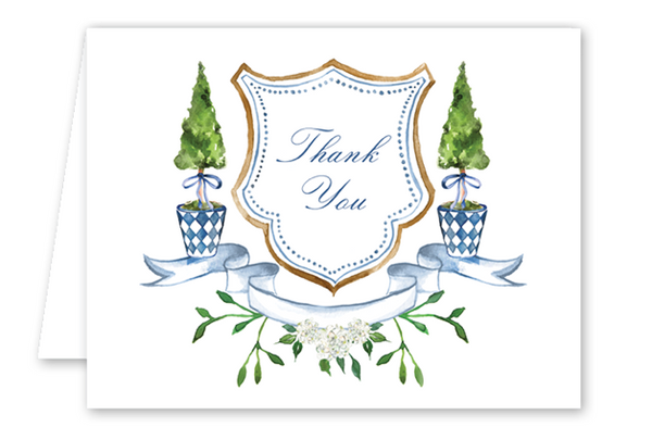 Blue Topiary Crest Thank You Card