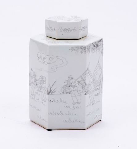 Ink Painting Porcelain Jar