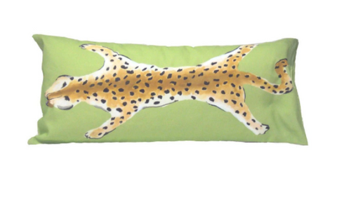 Green Leopard Lumbar Pillow