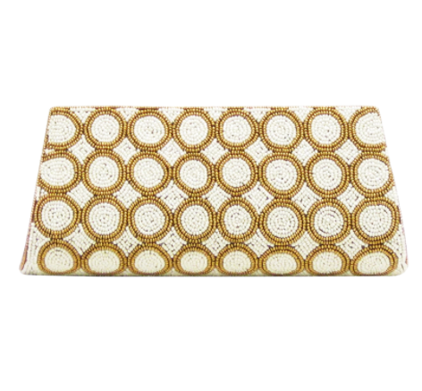 Ivory and Gold Beaded Clutch
