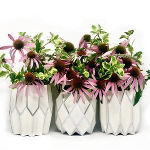 Silver Pearl and Foil Paper Vase Wraps