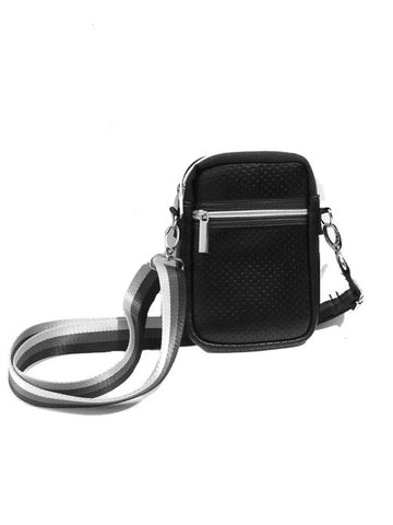 Casey Black Coated Crossbody