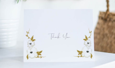 Hollypolly Prints White Floral Thank You Card Set