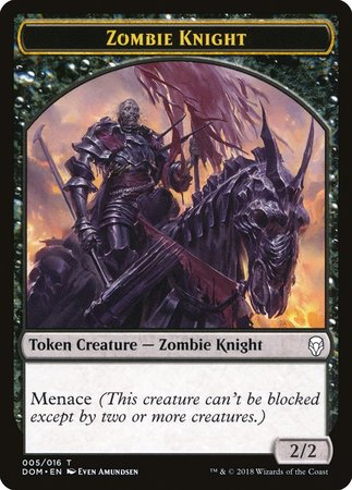 Zombie Knight Token [Dominaria Tokens] | Red Dragon Gaming