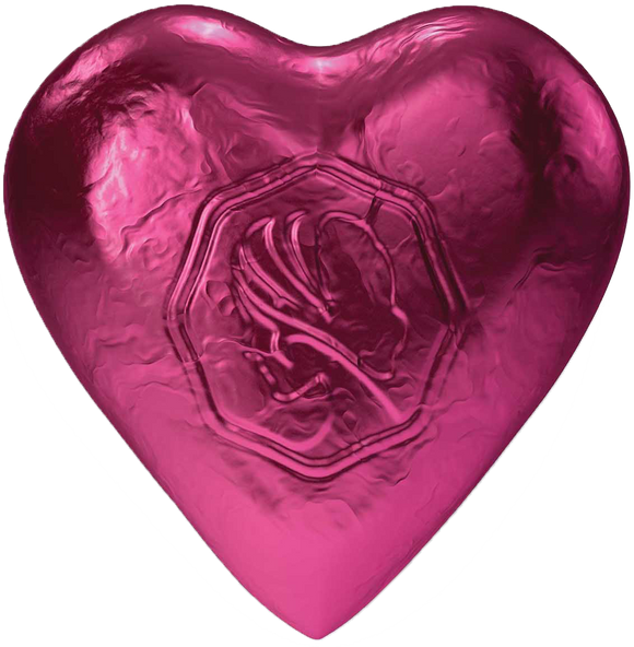 Pink Lady Milk Chocolate Foiled Hearts Hot Pink 8g