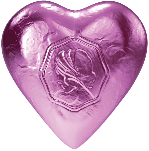 Pink Lady Milk Chocolate Foiled Hearts Pale Pink 8g