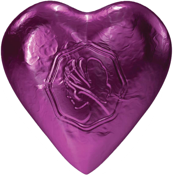 Pink Lady Milk Chocolate Foiled Hearts Plum 8g