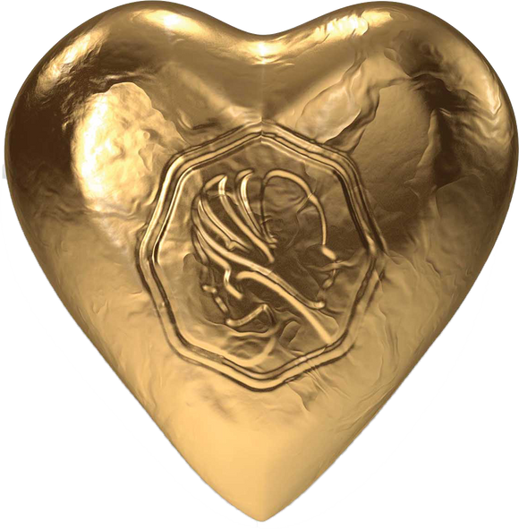 Pink Lady Milk Chocolate Foiled Hearts Gold 8g