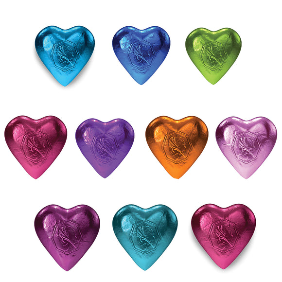 Pink Lady Milk Chocolate Hearts Mixed Designer Coloured Foils 10 x 8g (80g)