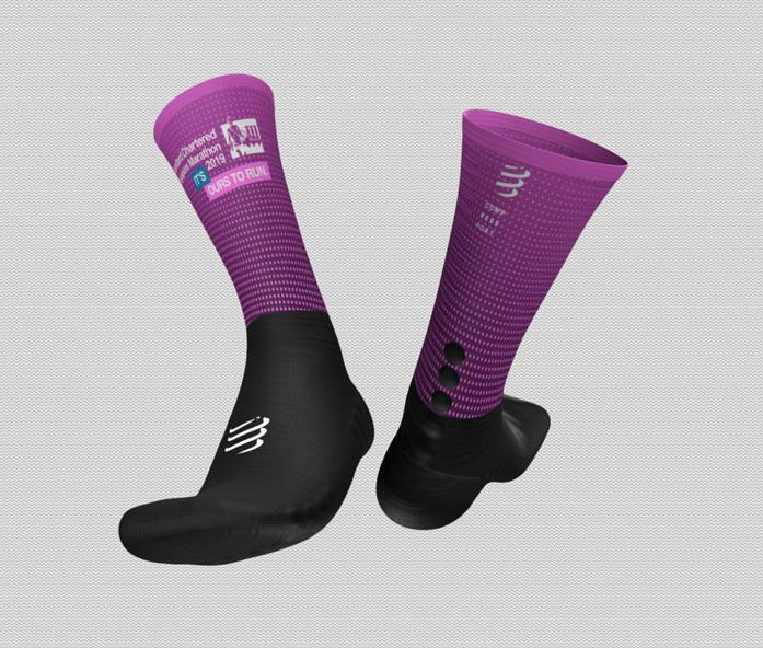 2019 Singapore Marathon Mid Compression Socks Pink