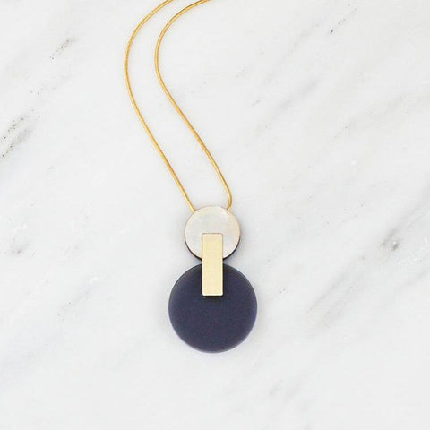 Wolf & Moon Celeste 1 Necklace in Navy Perspex