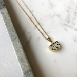 Decadorn Pendant Necklace-Mini Semi Circle Dalmation Jasper
