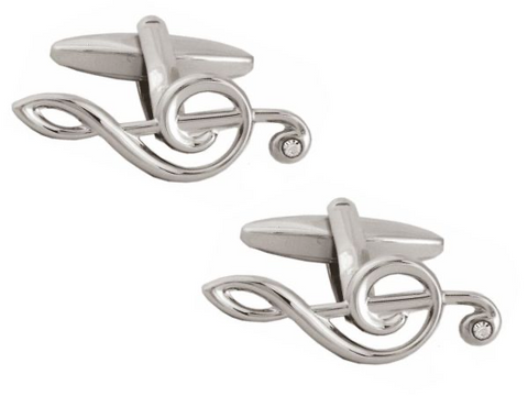 DLCO Rhodium Plated Cufflinks-Treble Clef