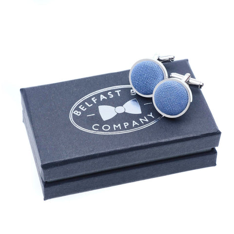 Belfast Bow Co Handmade Irish Linen Cufflinks-Slate Blue