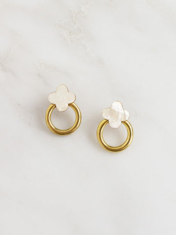 Wolf & Moon Elsa Flower Studs Mother Of Pearl