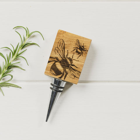 JS Oak Bottle Stopper - Bee