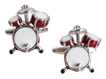 DLCO Rhodium Plated Cufflinks-Drums Kit Red