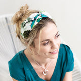 PM Navy and Green Tropical Print Headband