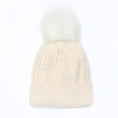 PM Oatmeal Lined Knit Faux Fur Bobble Hat
