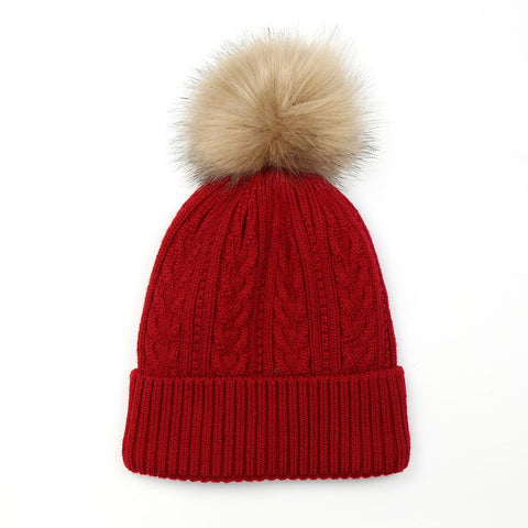 PM Red Lined Knit Faux Fur Bobble Hat