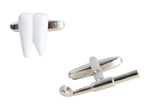 DLCO Rhodium Plated Cufflinks-Dentist Tooth & Mirror
