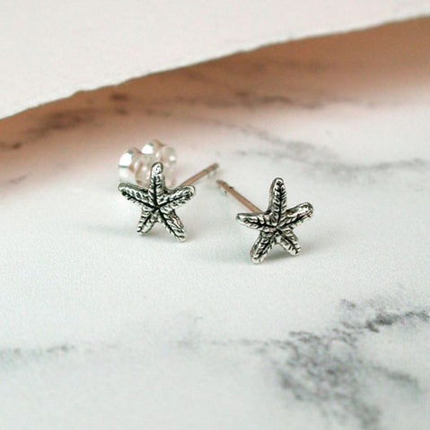 PM Sterling Silver Tiny Starfish Stud Earrings