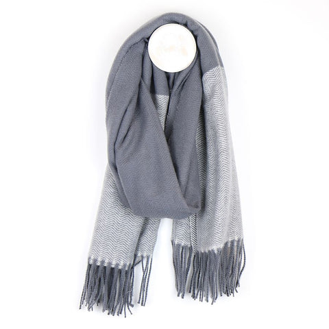 PM Fringed End Herringbone Scarf - Grey
