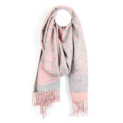 PM Luxury Soft Animal Print Scarf - Pink/Grey