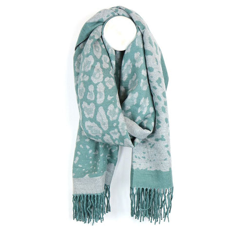 PM Luxury Soft Animal Print Scarf - Aqua/Grey