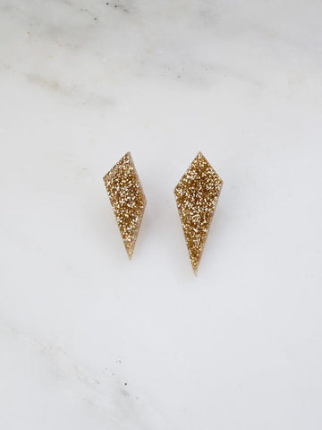 Wolf & Moon Shard Stud Earrings Glitter-Gold