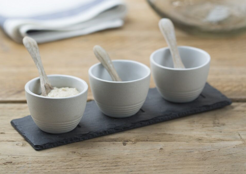 JS Stoneware Condiment Set & Mngo Wood Spoons