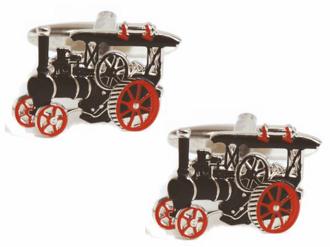 DLCO Rhodium Plated Cufflinks-Traction Engine