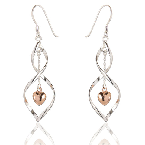 SPK Samantha Heart Drop Earrings (Rose Gold)