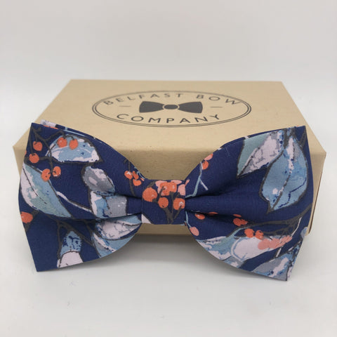 Belfast Bow Co Handmade Boho Bloom Bow Tie - Navy Floral