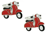DLCO Rhodium Plated Cufflinks-Scooter Red