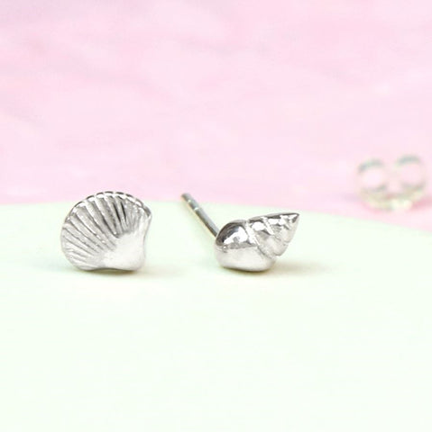 PM Sterling Silver Mismatched Shell Stud Earrings