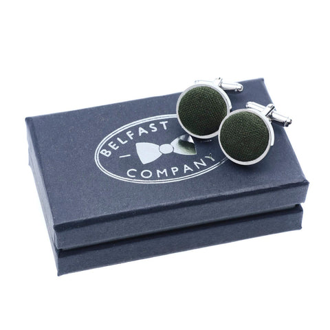 Belfast Bow Co Handmade Irish Linen Cufflinks-Brunswick Green