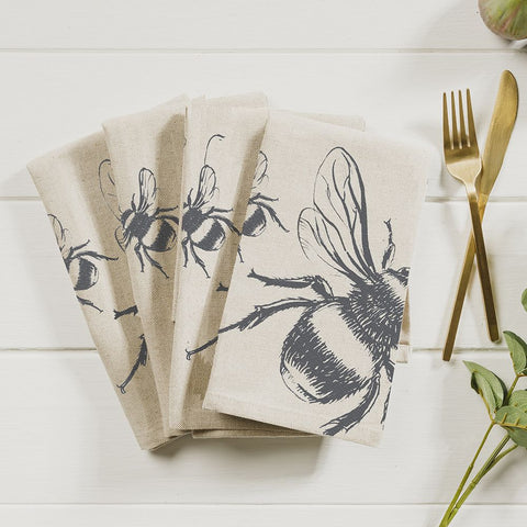 JS Linen Napkins Set of 4 - Bee