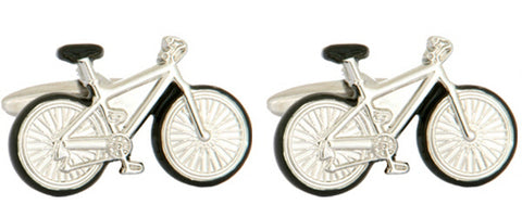 DLCO Rhodium Plated Cufflinks-Bicycles