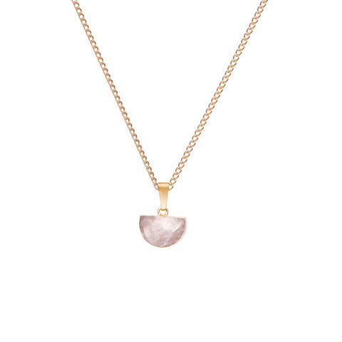 Decadorn Pendant Necklace-Mini Semi Circle Rose Quartz