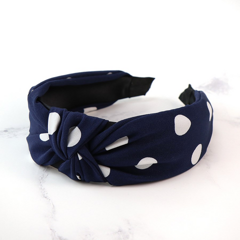 PM Navy and White Polka Dot Headband