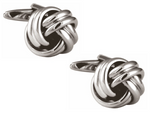 DLCO Rhodium Plated Cufflinks-Double Cord Knot