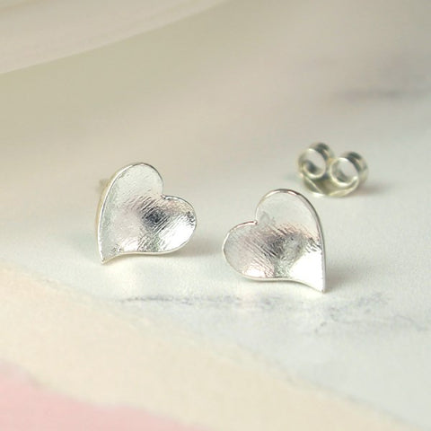 PM Sterling Silver Concave Heart Stud Earrings