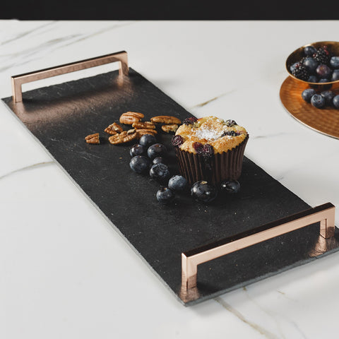 JS Slate Serving Tray Copper Handles Straight Edge-Sml