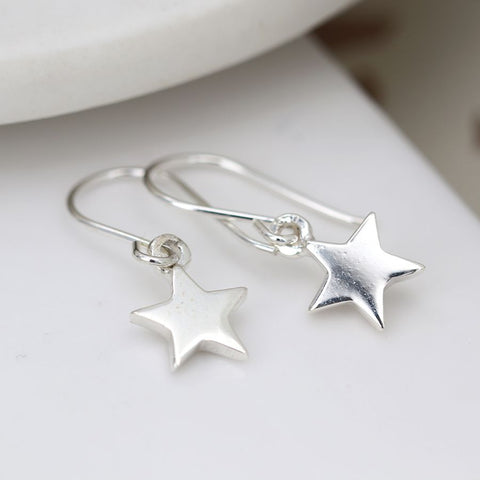 PM Sterling Silver Star Drop Earrings