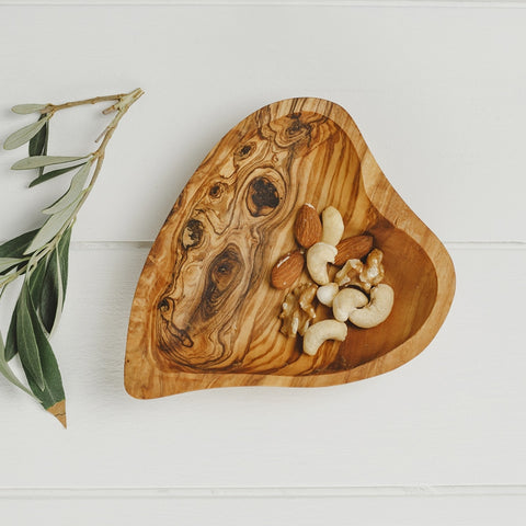 JSNM Olive Wood Heart Shaped Dish