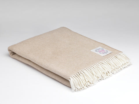 McNutt Lambswool Throw - Supersoft Basswood Herringbone
