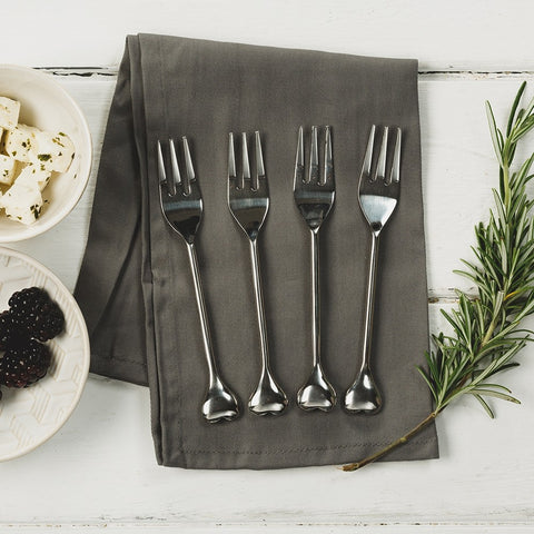 JS Heart Pastry Forks -Set Of 4